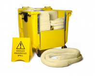 900 Litre Premium Chemical Spill Kit - Four Wheeled Drop Front Bin