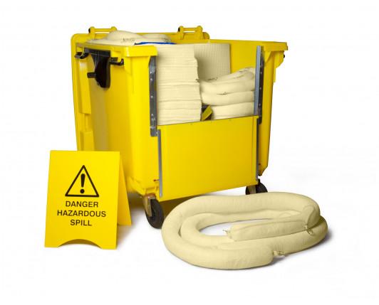 900 Litre Premium Chemical Spill Kit - Four Wheeled Drop Front Bin