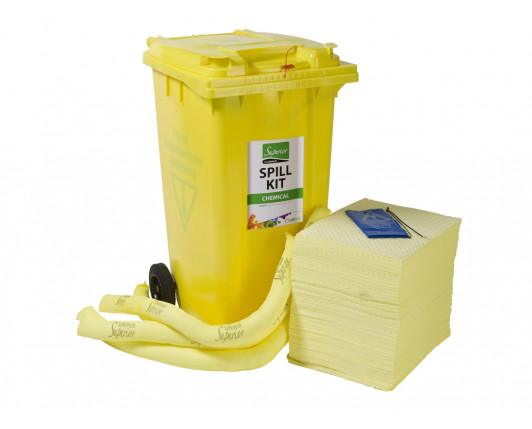 240 Litre Premium Chemical Spill Kit - Two Wheeled Bin