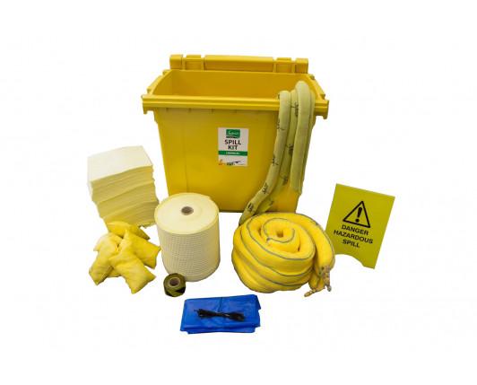 600 Litre Premium Chemical Spill Kit - Four Wheeled Bin