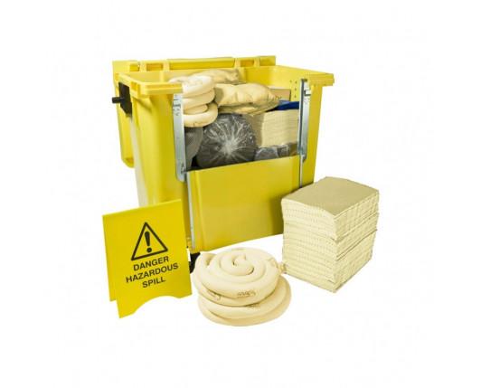 600 Litre Premium Chemical Spill Kit - Four Wheeled Drop Front Bin