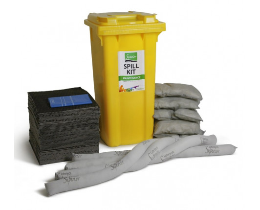 120 Litre Premium Maintenance Spill Kit - Two Wheeled Bin