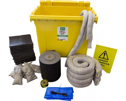 600 Litre Premium Maintenance Spill Kit - Four Wheeled Bin