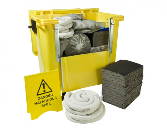 600 Litre Premium Maintenance Spill Kit - Four Wheeled Drop Front Bin
