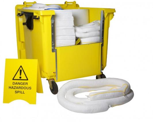 900 Litre Premium Oil-Only Spill Kit - Four Wheeled Drop Front Bin