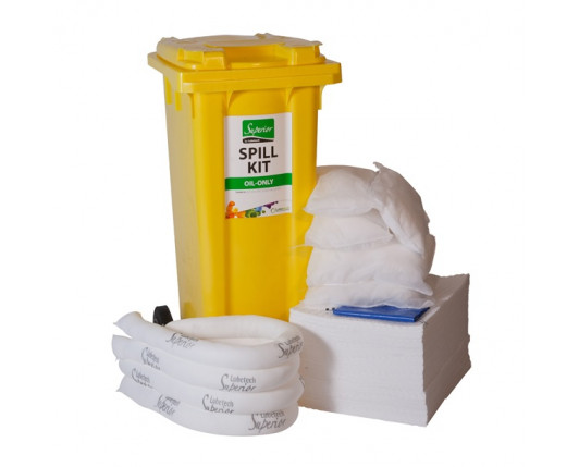 120 Litre Premium Oil-Only Spill Kit - Two Wheeled Bin