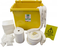600 Litre Premium Oil-Only Spill Kit - Four Wheeled Bin