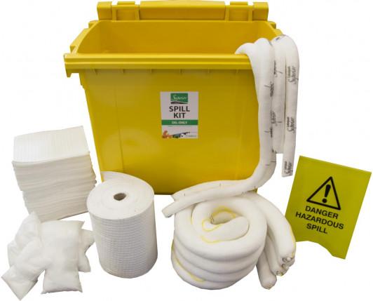600 Litre Premium Oil-Only Spill Kit - Four Wheeled Bin