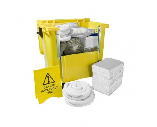 600 Litre Premium Oil-Only Spill Kit - Four Wheeled Drop Front Bin
