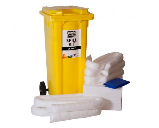 120 Litre Economy Plus Oil-Only Spill Kit - Two Wheeled Bin