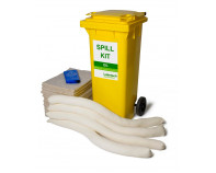100 Litre Natural Oil-Only Spill Kit - Two Wheeled Bin