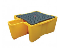 Single IBC Spill Pallet With Dispensing Area - With Grate