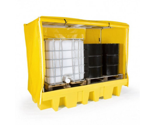 Double IBC Spill Pallet With Frame and Cover