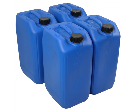 25 Litre Stackable Plastic Jerry Can - Blue - UN Approved - x4 Pack