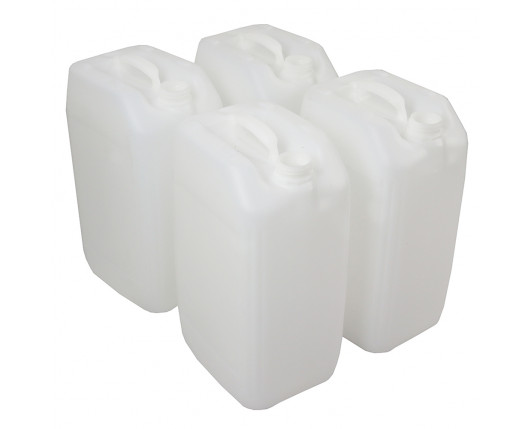 25 Litre Stackable Plastic Jerry Can - Natural - UN Approved - x4 Pack
